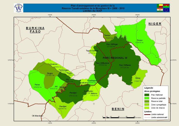 Carte du WAP, complexe international protégé qui comprend le W, le parc d'Arly et la Pendjari